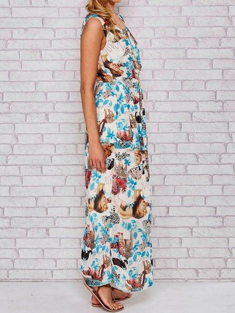 Niebieska sukienka maxi z motywem leopard print                                  zdj.                                  3