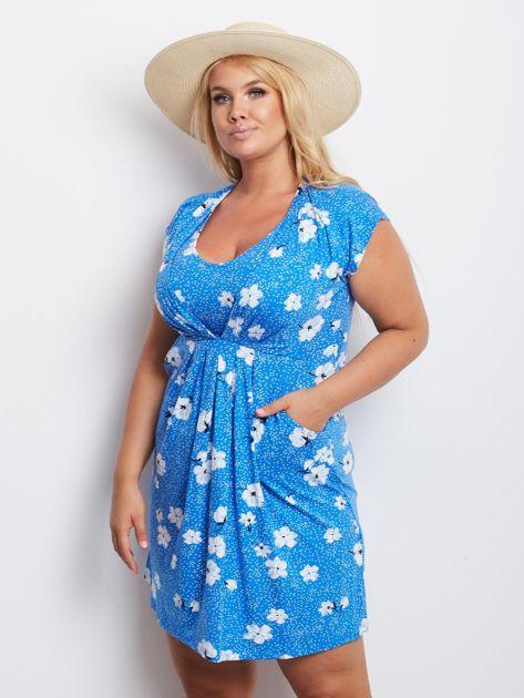 Niebieska sukienka plus size Arkansas                              zdj.                              3