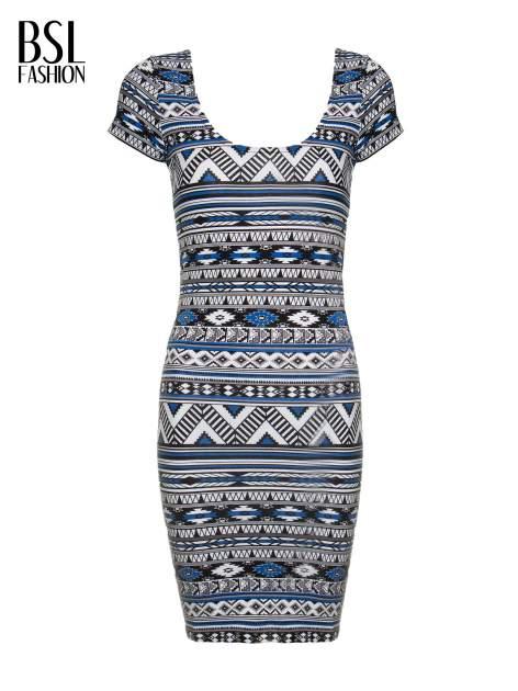 Niebieska sukienka tuba w azteckie wzory                                  zdj.                                  2