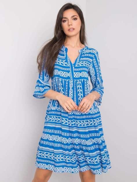 Niebieska sukienka we wzory Stefanie SUBLEVEL