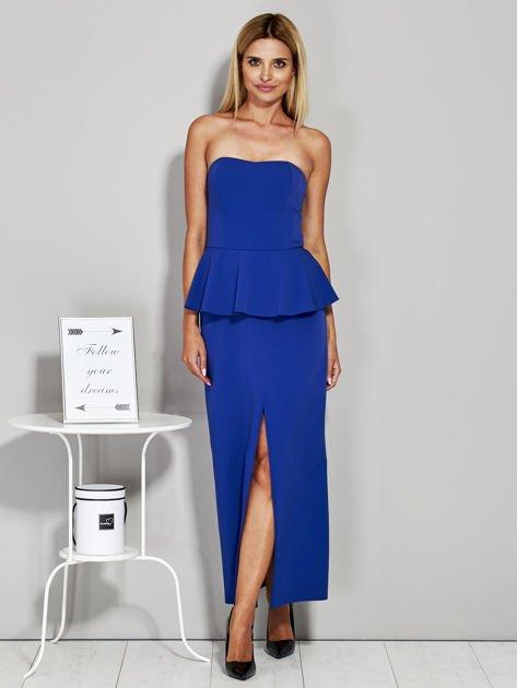 Niebieska sukienka wieczorowa z baskinką                              zdj.                              4