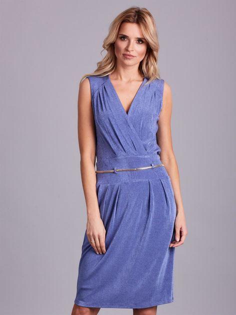 Niebieska sukienka z dekoltem na plecach                              zdj.                              1