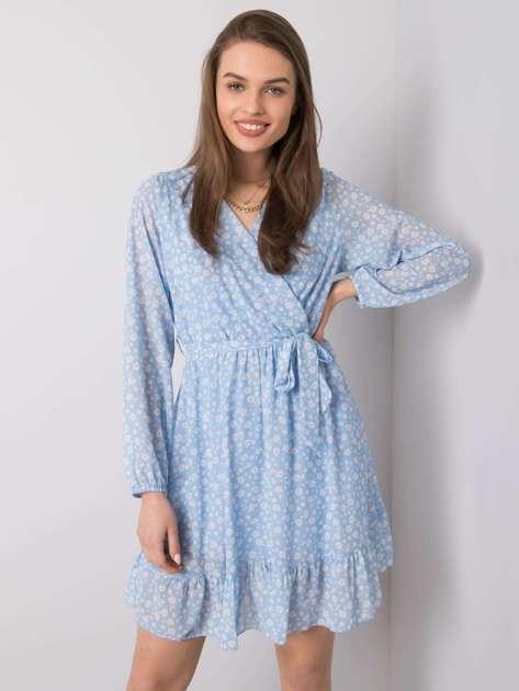 Niebieska sukienka z falbaną Eunika OCH BELLA