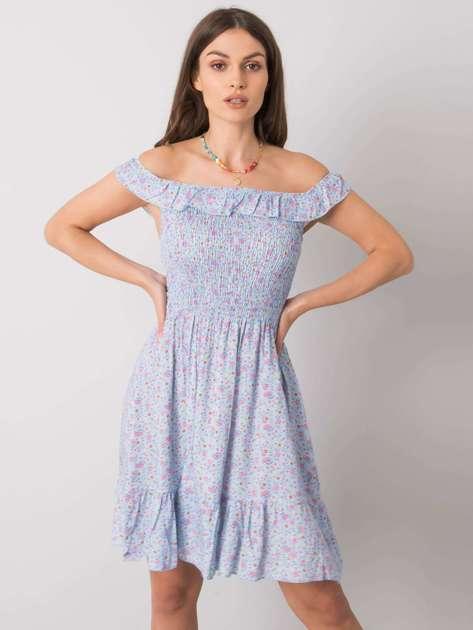 Niebieska sukienka z falbaną Lanciano