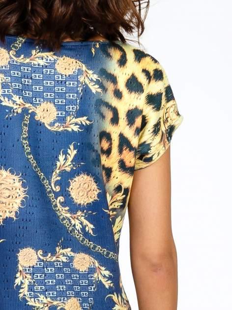 Niebieska sukienka z panterkowym nadrukiem                                  zdj.                                  9