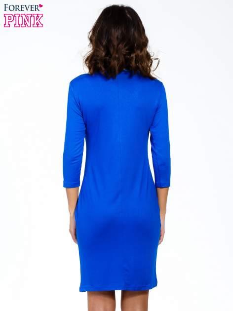 Niebieska sukienka z suwakiem                                  zdj.                                  4