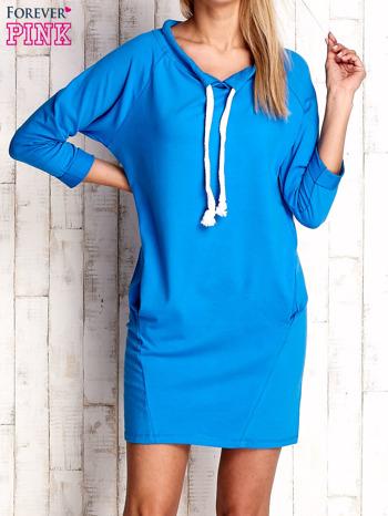 Niebieska sukienka z troczkami                              zdj.                              1