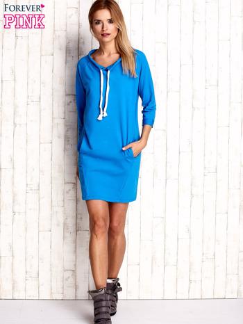Niebieska sukienka z troczkami                                  zdj.                                  2
