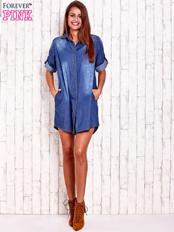 Niebieska sukienkokoszula z kieszeniami i podwijanymi rękawami                                  zdj.                                  2