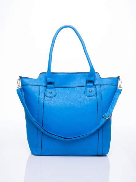Niebieska torba miejska z odpinanym paskiem