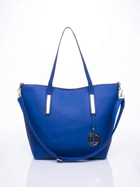 Niebieska torba na ramię ze złotym emblematem                                  zdj.                                  1