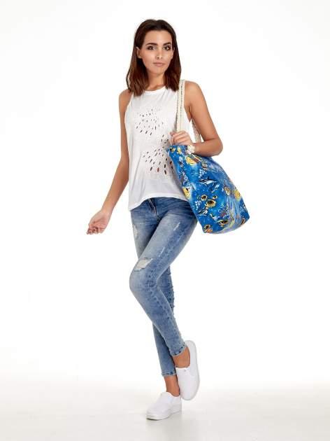Niebieska torba plażowa z nadrukiem rafy koralowej                                  zdj.                                  2