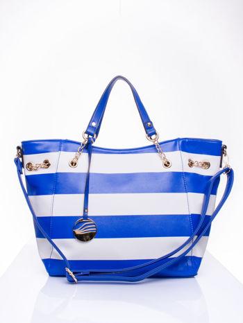 Niebieska torba shopper bag w pasy efekt saffiano                                  zdj.                                  1
