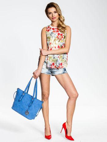 Niebieska torba shopper bag z zawieszką                                  zdj.                                  2
