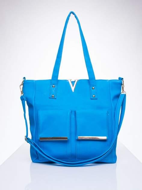 Niebieska torba shopper bag ze kieszeniami na klapki                                  zdj.                                  1