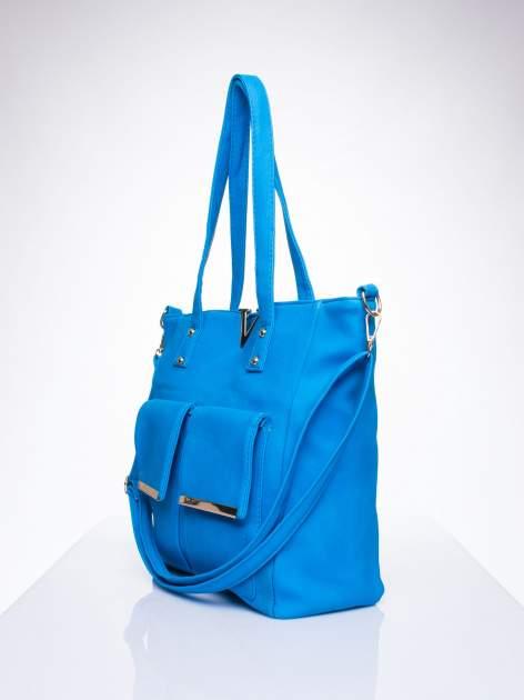 Niebieska torba shopper bag ze kieszeniami na klapki                                  zdj.                                  2