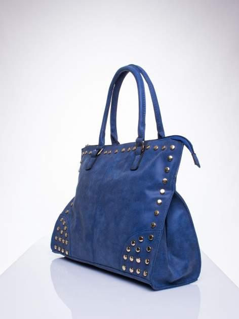 Niebieska torba shopper bag ze złotymi ćwiekami                                  zdj.                                  2