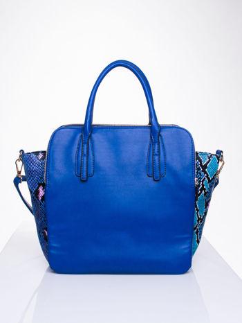 Niebieska torba z wstawkami animal print                                  zdj.                                  2