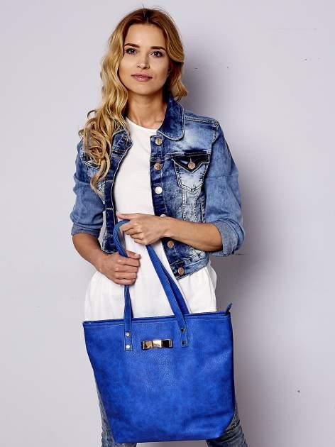 Niebieska torebka shopper bag z kokardką                                  zdj.                                  6