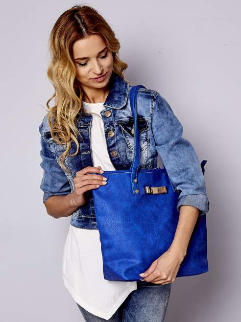 Niebieska torebka shopper bag z kokardką
