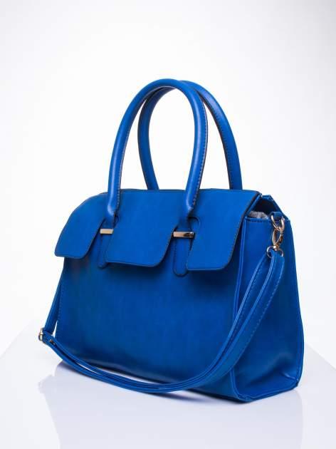 Niebieska torebka teczka z klapką                                  zdj.                                  3