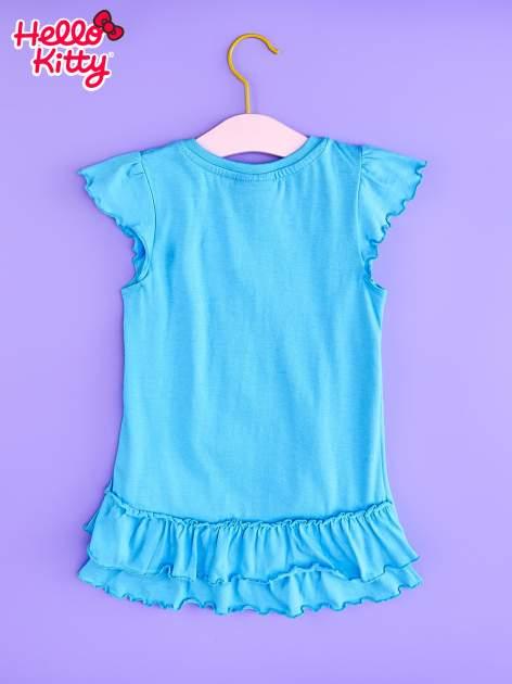 Niebieska tunika dla dziewczynki z falbankami HELLO KITTY                                   zdj.                                  2