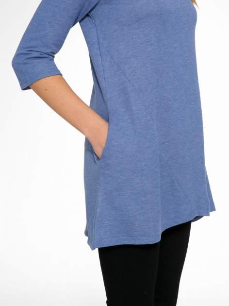 Niebieska tunika o kroju dzwonka wiązana z tyłu                                  zdj.                                  8