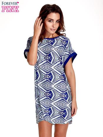 Niebieska tunika w azteckie wzory                                  zdj.                                  1