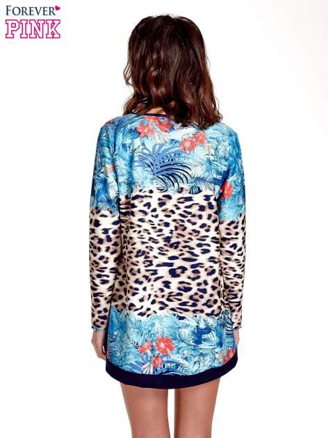Niebieska tunika z motywem animal print                                  zdj.                                  4