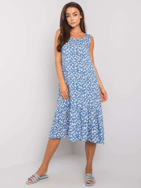 Niebieska wzorzysta sukienka z falbaną Jermaine RUE PARIS