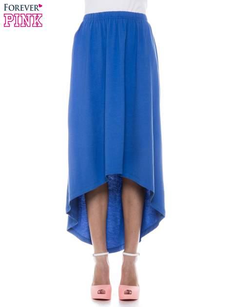 Niebieska zwiewna spódnica z dłuższym tyłem