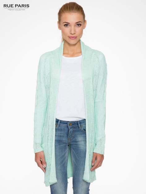 Niebieski ażurowy długi sweter typu kardigan z paskiem                                  zdj.                                  1
