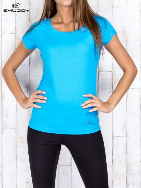 Niebieski damski t-shirt sportowy basic PLUS SIZE