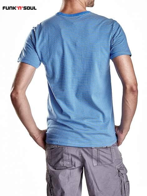 Niebieski klasyczny t-shirt męski w paski Funk n Soul