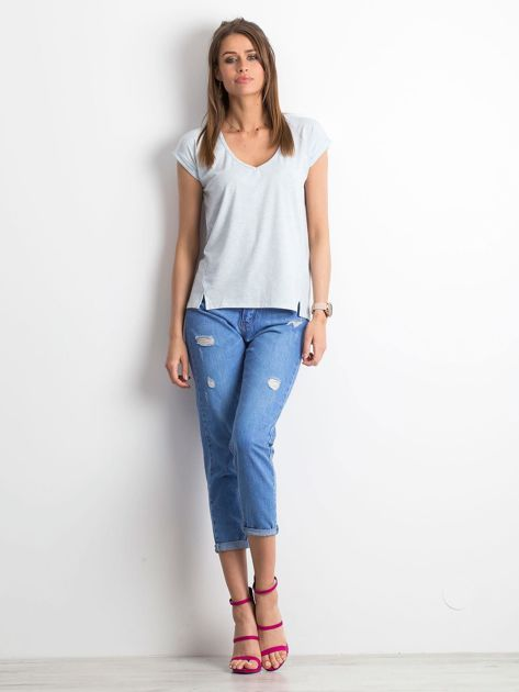 Niebieski melażowy t-shirt Vibes                              zdj.                              4