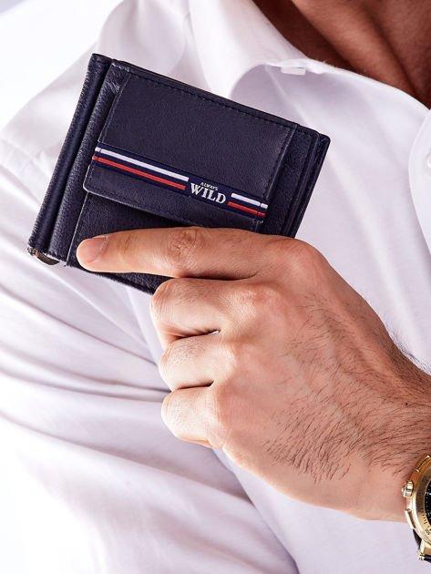 Niebieski męski portfel skórzany z zewnętrzną kieszenią