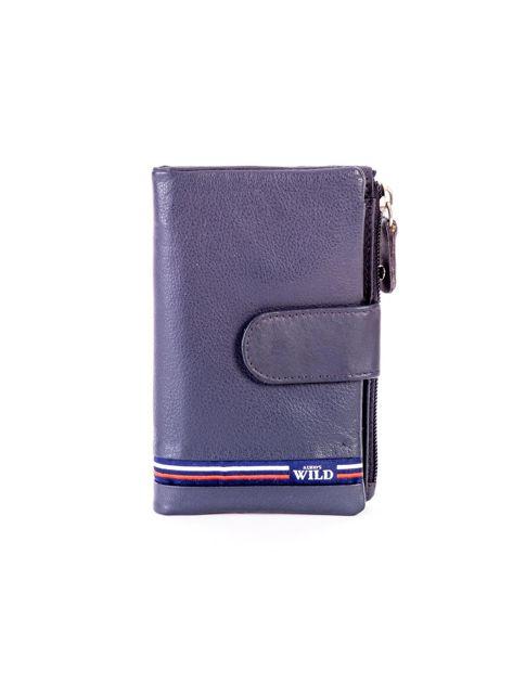 Niebieski miękki portfel ze skóry naturalnej z kieszenią na suwak                              zdj.                              1