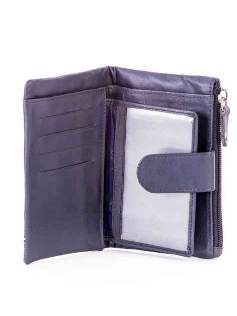Niebieski miękki portfel ze skóry naturalnej z kieszenią na suwak                              zdj.                              4