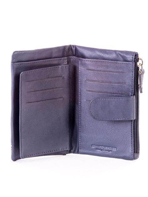 Niebieski miękki portfel ze skóry naturalnej z kieszenią na suwak                              zdj.                              5