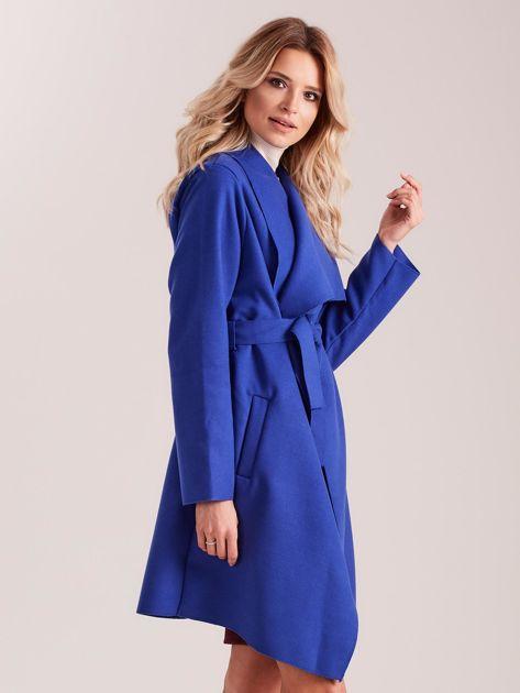 Niebieski płaszcz z kieszeniami i wiązaniem                              zdj.                              3