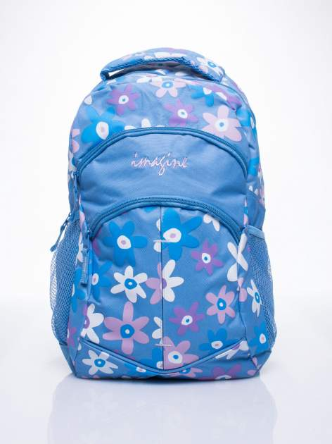 Niebieski plecak dla dziewczynki DISNEY w kwiatki