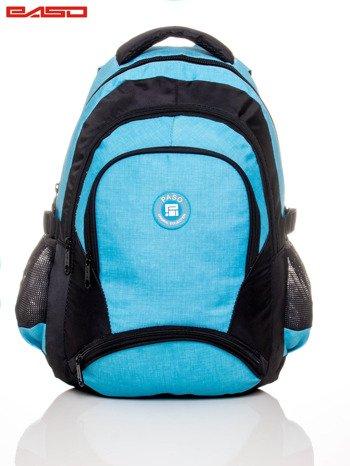 Niebieski plecak szkolny z naszywką                              zdj.                              2