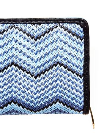Niebieski pleciony portfel w geometryczne wzory                                  zdj.                                  5