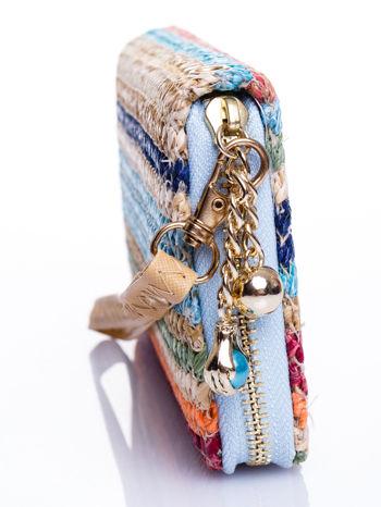 Niebieski pleciony portfel w paski                                  zdj.                                  3