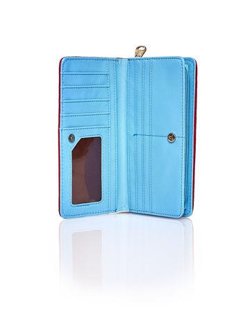 Niebieski pleciony portfel w pionowe pastelowe paski                                  zdj.                                  3