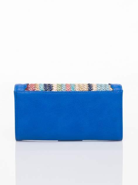 Niebieski portfel z ażurowaniem i plecionką                                  zdj.                                  2