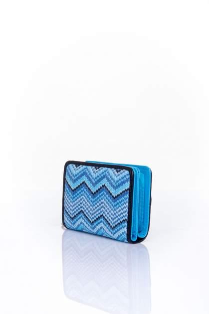 Niebieski portfel z motywem geometrycznej plecionki                                  zdj.                                  2