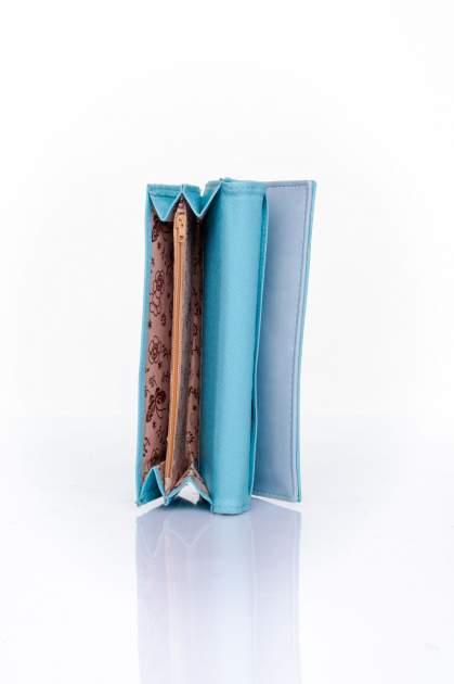 Niebieski portfel z ozdobnym detalem i złotymi okuciami                                  zdj.                                  5