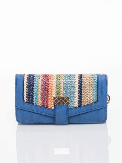 Niebieski portfel z plecionką
