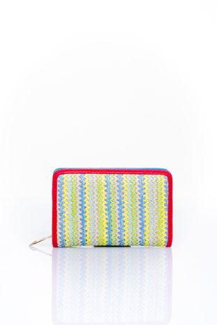 Niebieski portfel z plecionkowym wykończeniem                                  zdj.                                  1
